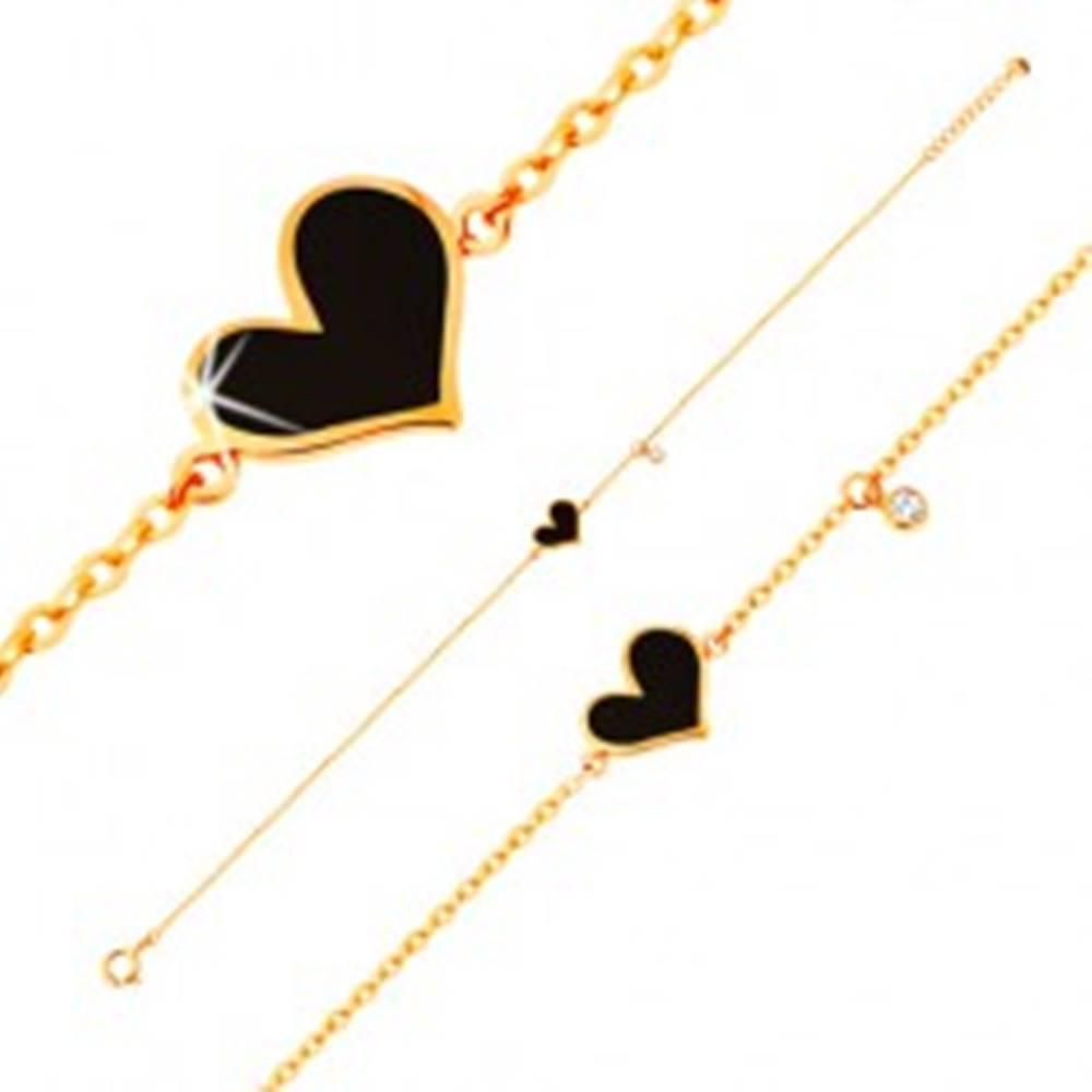 Šperky eshop Náramok v žltom 14K zlate - čierne asymetrické srdce a číry zirkónik, retiazka