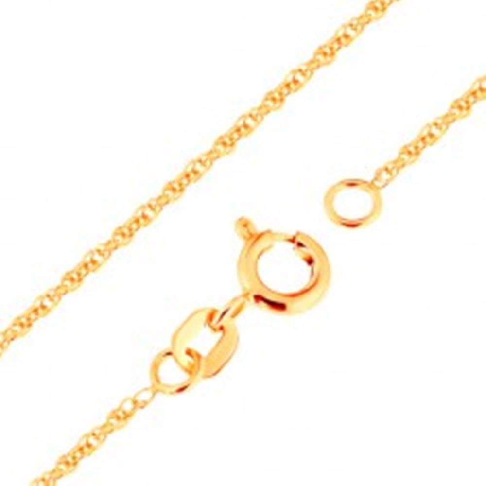 Šperky eshop Retiazka v žltom zlate 375 - prepojené oválne očká, 500 mm