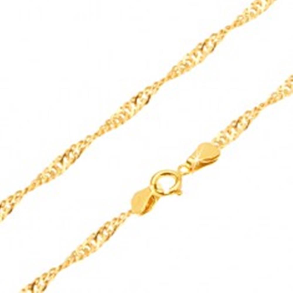 Šperky eshop Retiazka zo žltého 14K zlata - ploché oválne očká, špirála, 450 mm