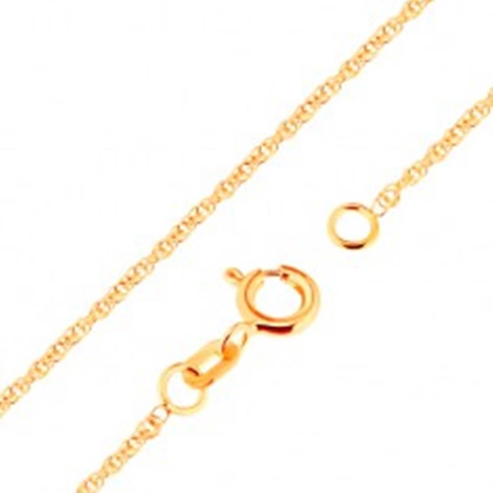 Šperky eshop Zlatá retiazka 750 - ligotavé prepojené oválne očká, 500 mm