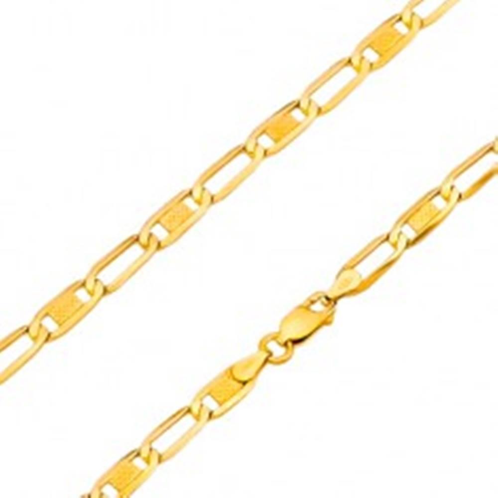 Šperky eshop Zlatý 14K náramok - lesklé oválne očká s mriežkou a prázdne, 180 mm