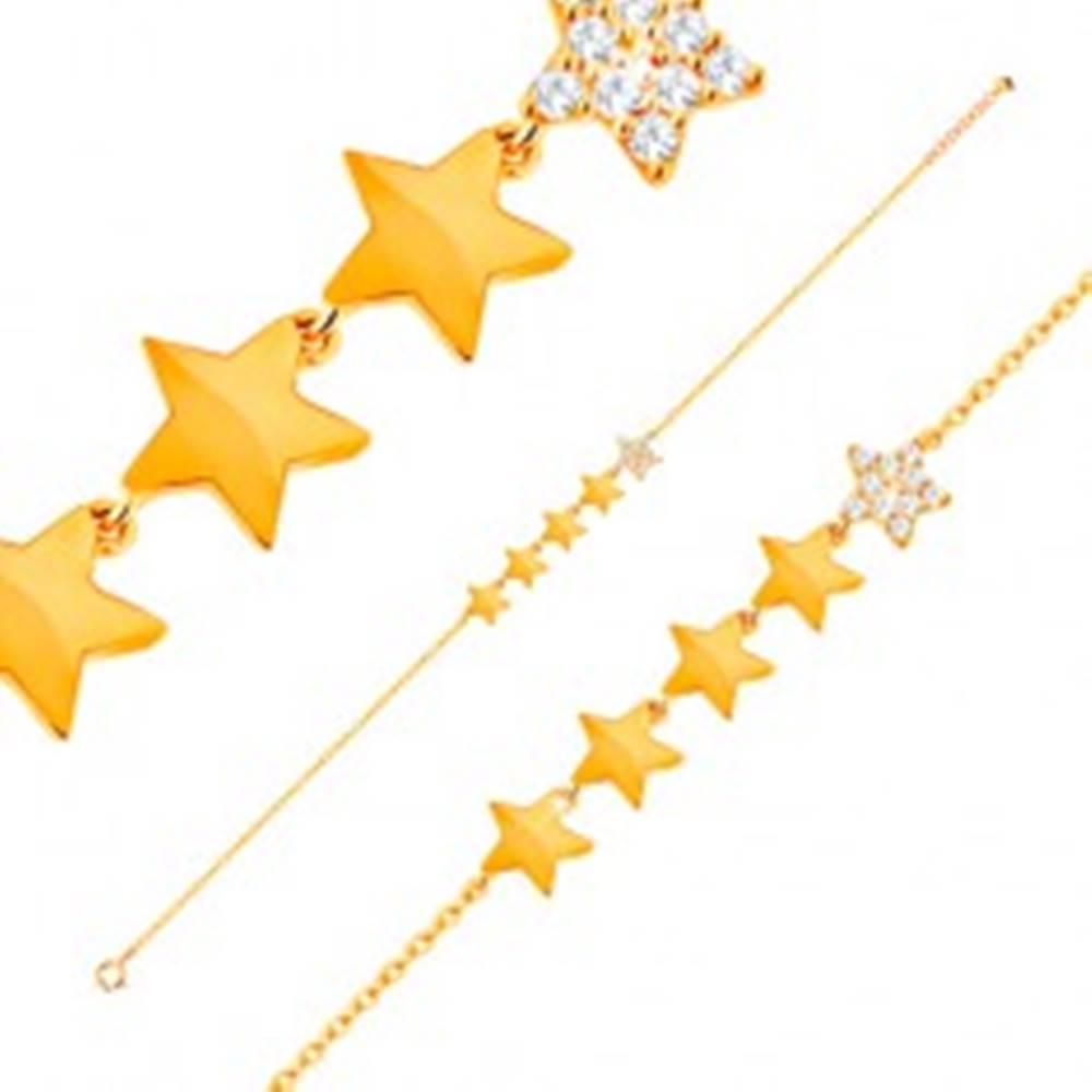 Šperky eshop Zlatý 14K náramok - línia piatich hviezdičiek, retiazka z oválnych očiek, 180 mm