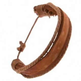Náramok z kože - hrubý a tenký karamelovohnedý pás, hnedé šnúrky