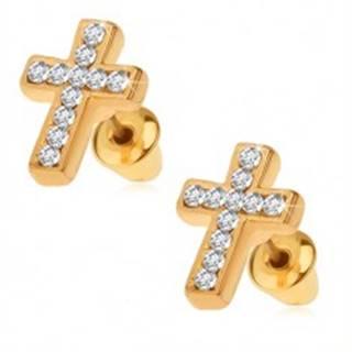 Náušnice zlatej farby, latinský kríž s čírymi kamienkami