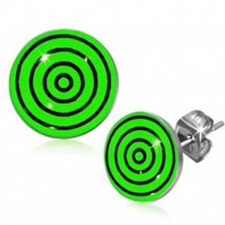 Oceľové náušnice, čierne a zelené kružnice pod glazúrou