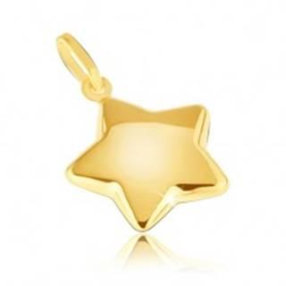Prívesok zo žltého14K zlata - zaoblená trblietavá päťcípa hviezda