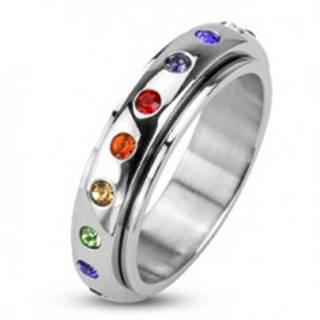 Prsteň z ocele 316L, točiaca sa obruč s farebnými kamienkami - Veľkosť: 48 mm
