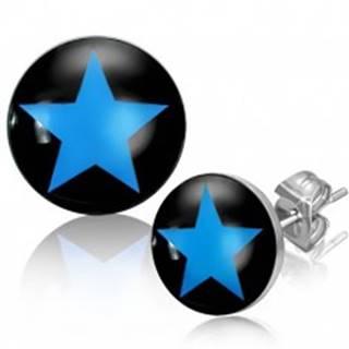 Puzetové náušnice z ocele, modrá hviezda na čiernom podklade