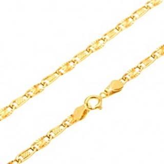 Retiazka v žltom 14K zlate - mriežkovaný a lúčovitý článok, 440 mm