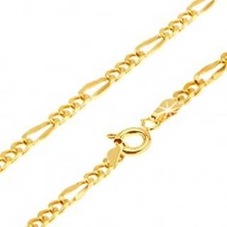 Retiazka v žltom 14K zlate - tri oválne očká, jedno dlhšie sploštené, 450 mm