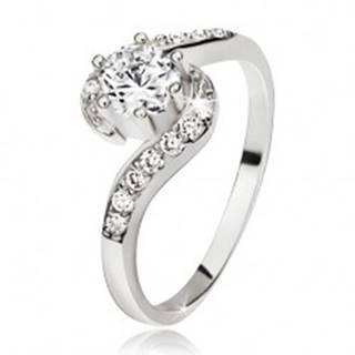 Strieborný prsteň 925, zvlnené zirkónové ramená, okrúhly číry kamienok - Veľkosť: 48 mm