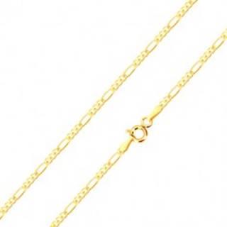 Zlatá retiazka 585 - tri malé očká a jedno podlhovasté, vysoký lesk, 500 mm