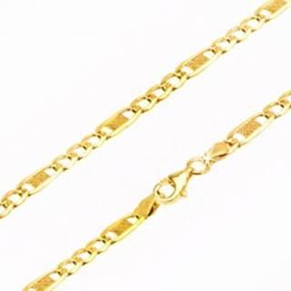 Zlatá retiazka 585 - tri oválne očká a jedno dlhšie s mriežkou, 550 mm