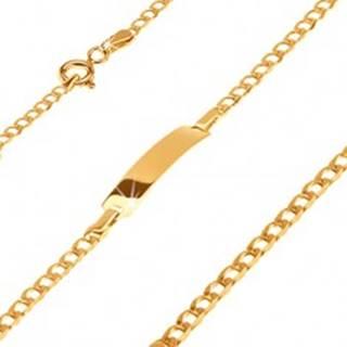 Zlatý 585 náramok s platničkou - ligotavé drobné oválne očká, 180 mm