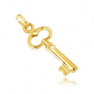 Zlatý prívesok 585 - malý trblietavý kľúčik, vyrezávaný ovál navrchu