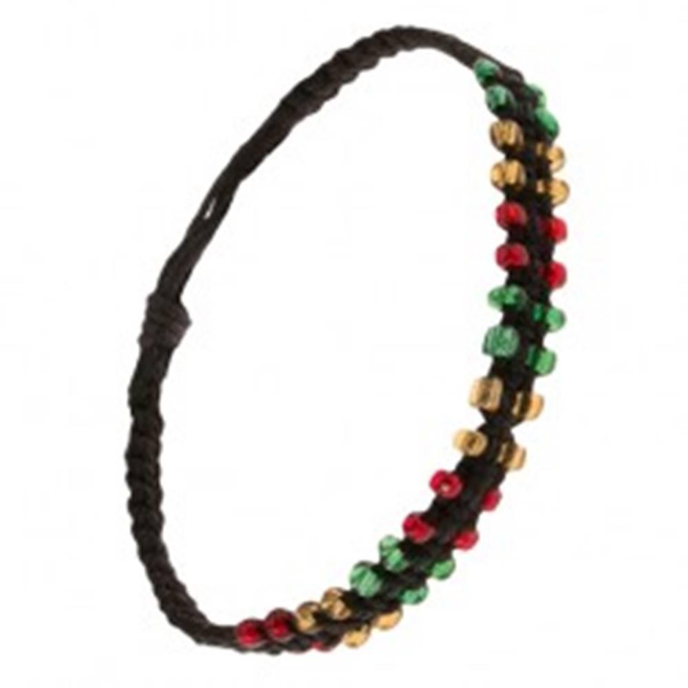Šperky eshop Čierny pletený náramok zo šnúrok, farebné korálkové okraje