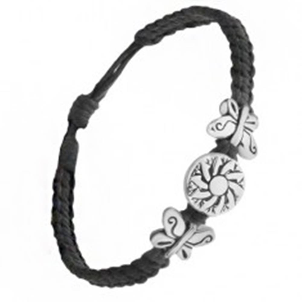 Šperky eshop Čierny pletený náramok zo šnúrok, známka s kvetom, motýle
