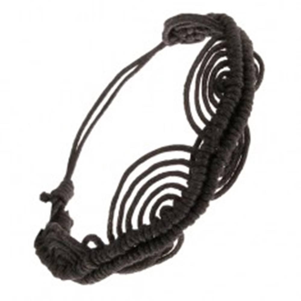 Šperky eshop Čierny šnúrkový náramok, zvlnená línia, oblúky