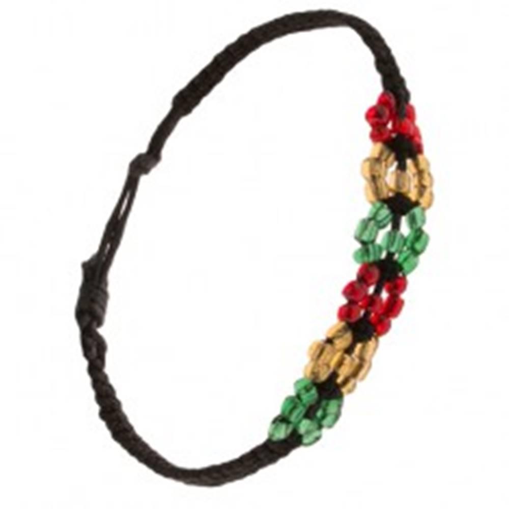 Šperky eshop Korálkový náramok, čierna šnúrka, farebné kruhy