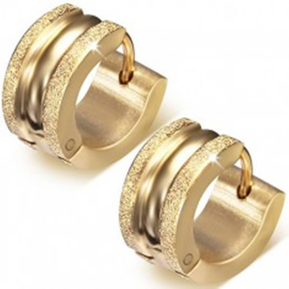 Šperky eshop Kruhové náušnice z ocele, vyvýšené pieskované pásy, lesklý stred