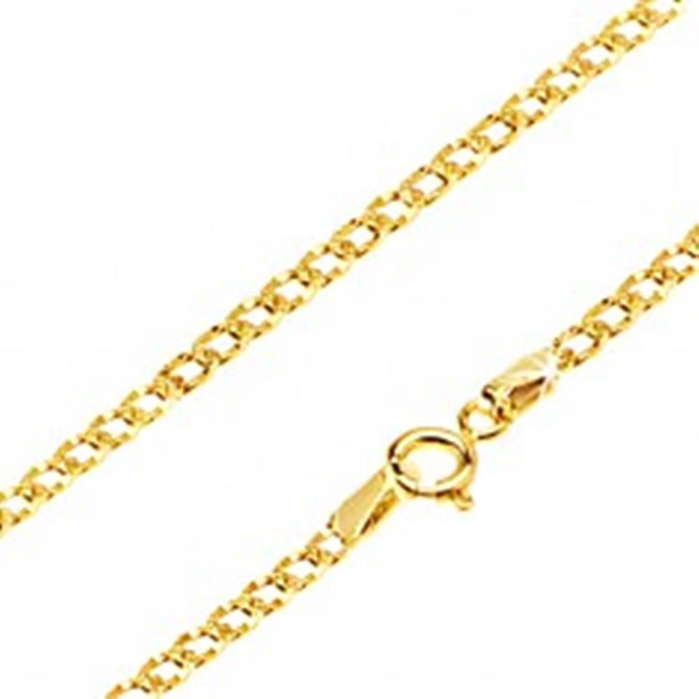 Šperky eshop Lesklá zlatá retiazka 585 - oválne očká zdobené drobnými jamkami, 500 mm