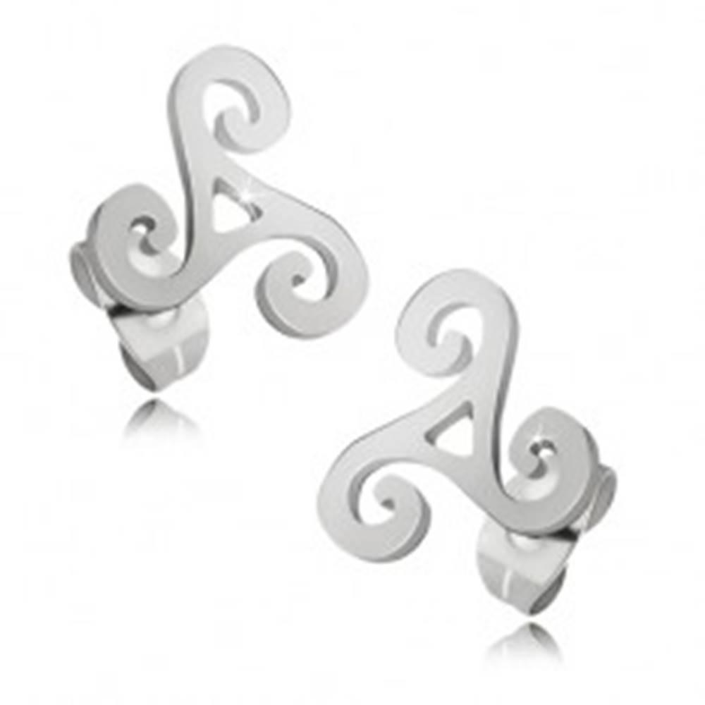 Šperky eshop Lesklé oceľové náušnice striebornej farby, keltská špirála