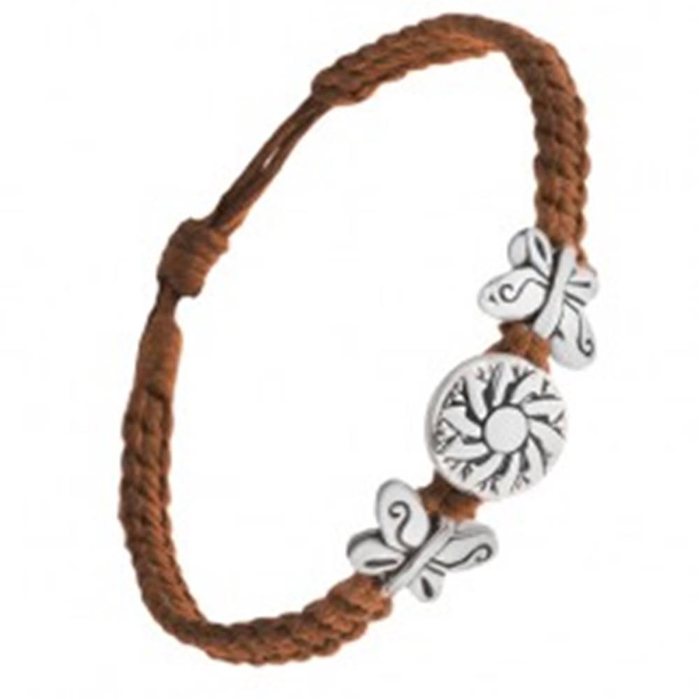 Šperky eshop Náramok z čokoládovohnedých šnúrok, motýle, známka s kvetom