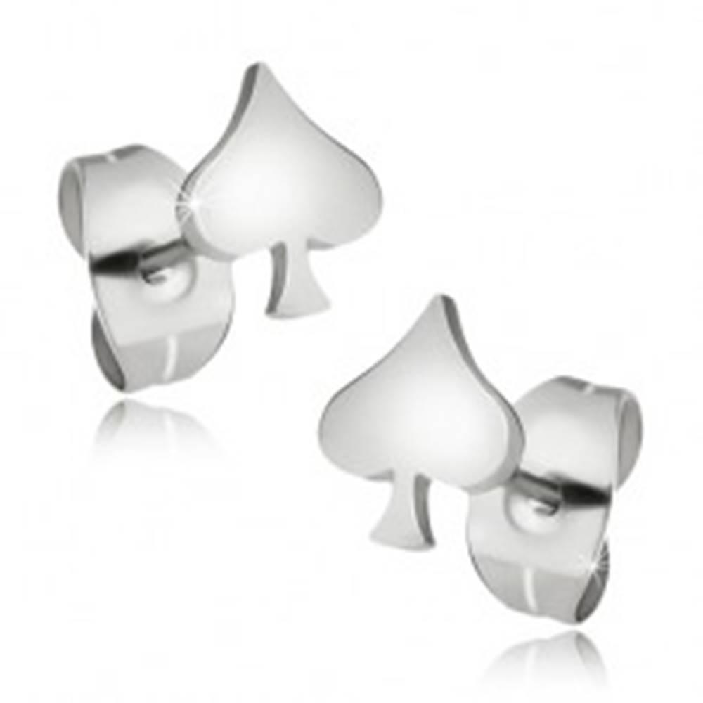 Šperky eshop Náušnice z chirurgickej ocele, pikový list