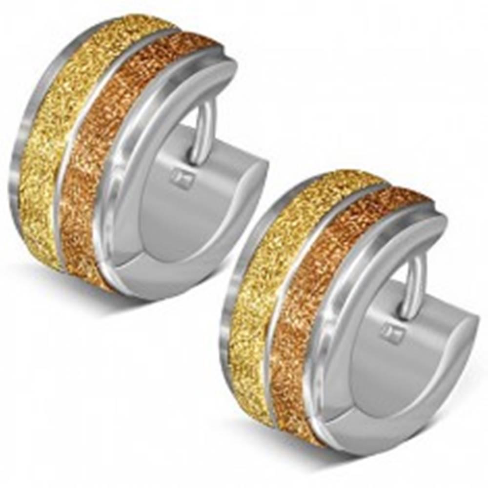 Šperky eshop Okrúhle náušnice z ocele, dva pieskované pásy zlatej farby