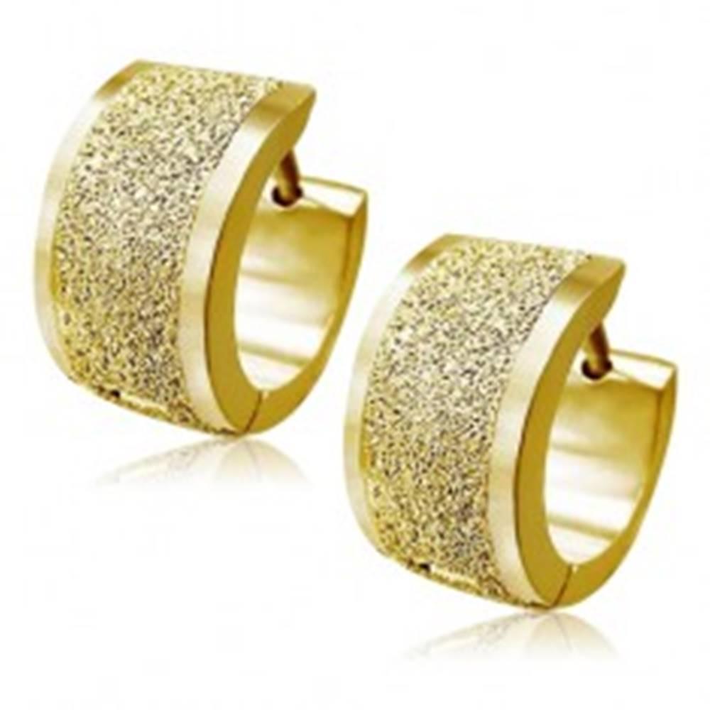 Šperky eshop Pieskované náušnice z ocele zlatej farby, šikmé okraje