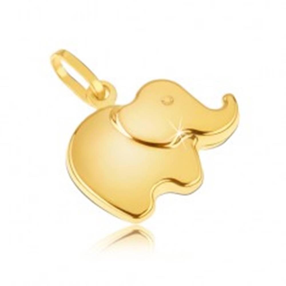 Šperky eshop Prívesok v žltom 14K zlate - malý ligotavý zaoblený sloník