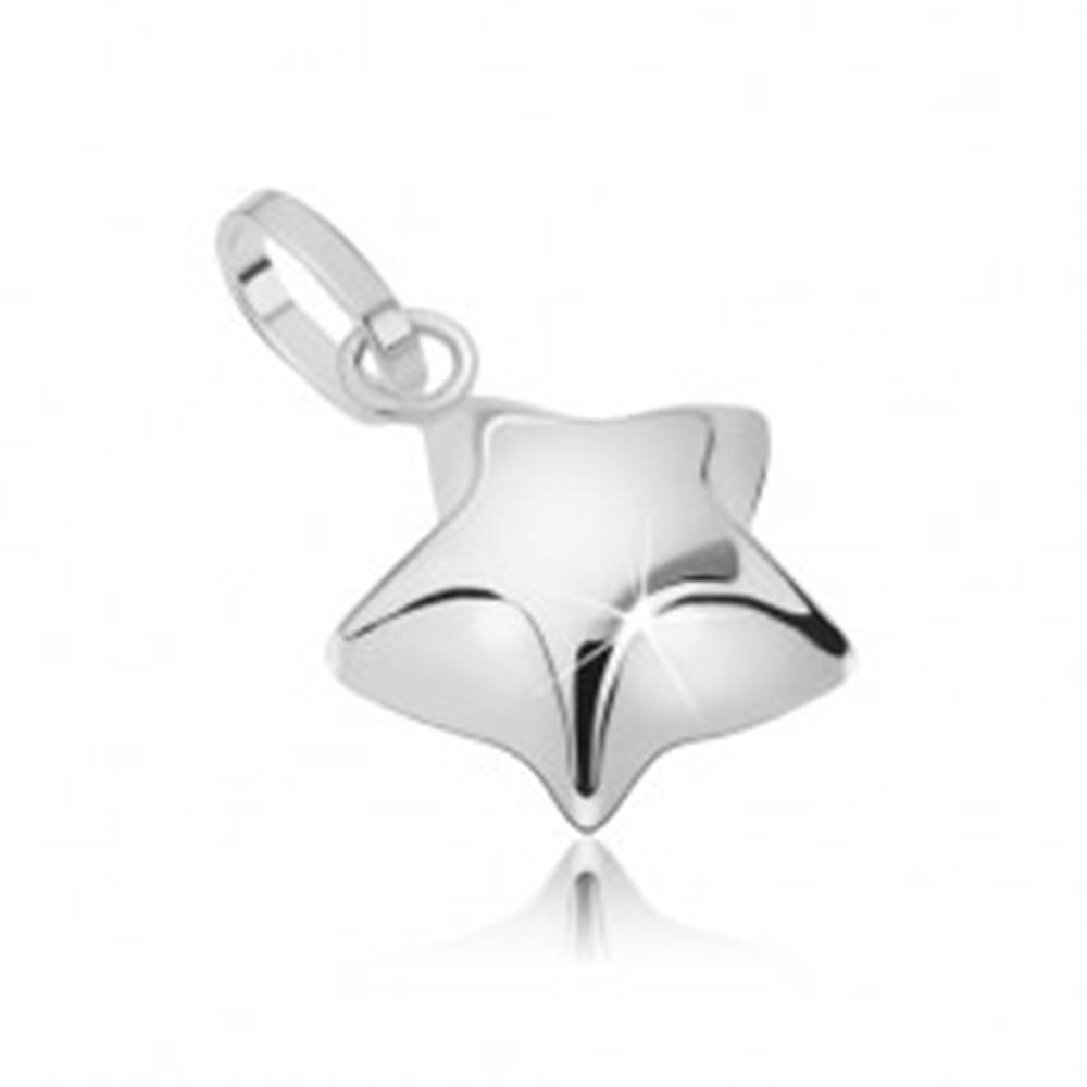 Šperky eshop Prívesok z bieleho 14K zlata - vypuklá trblietavá päťcípa hviezda