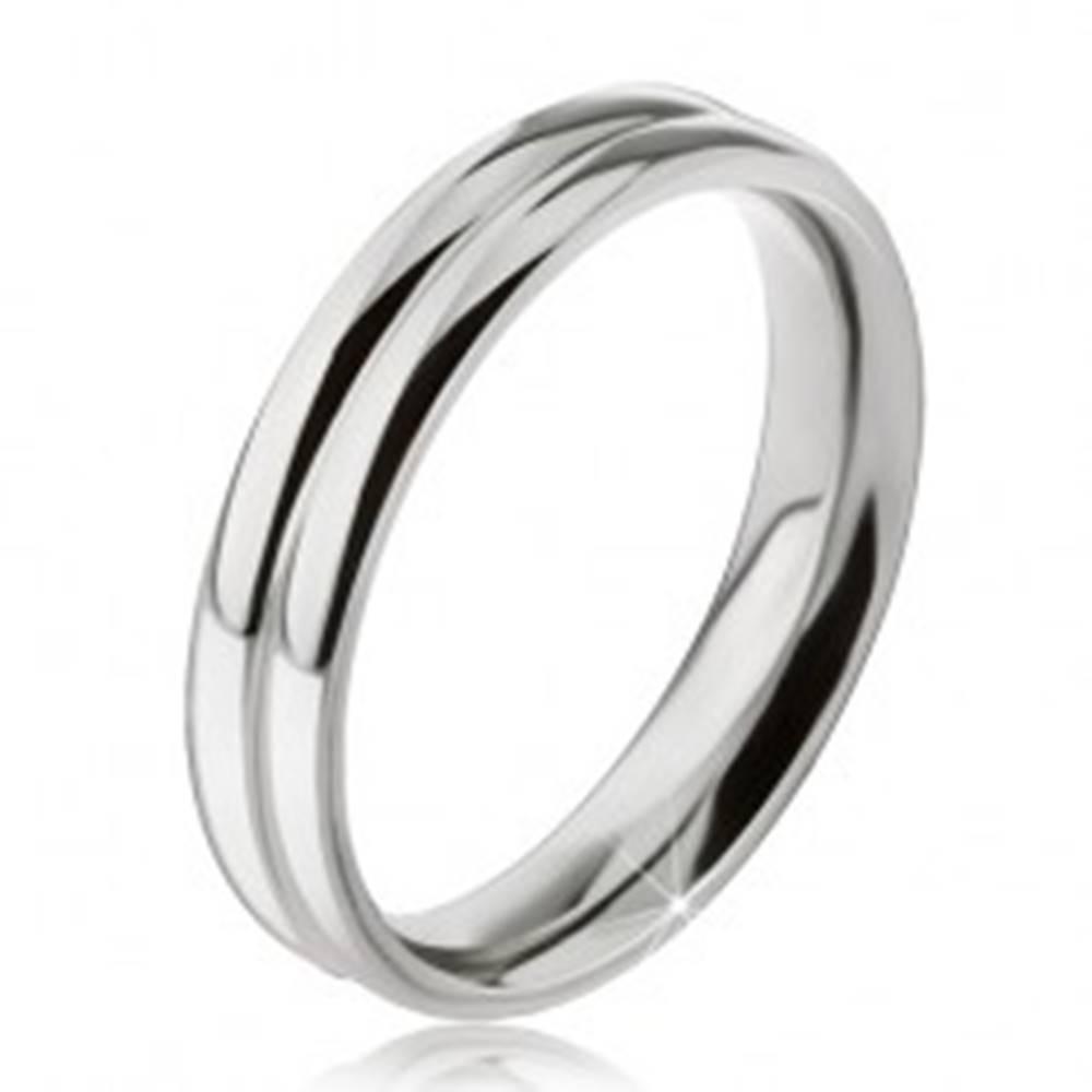 Šperky eshop Prsteň z ocele 316L, efekt dvoch zaoblených obrúčok, 6 mm - Veľkosť: 49 mm