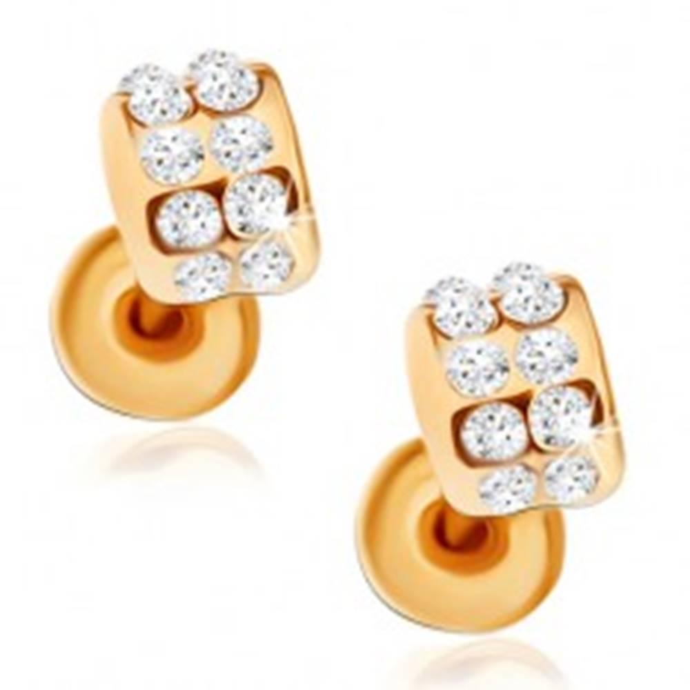 Šperky eshop Puzetové náušnice zlatej farby, zirkónové poloblúky