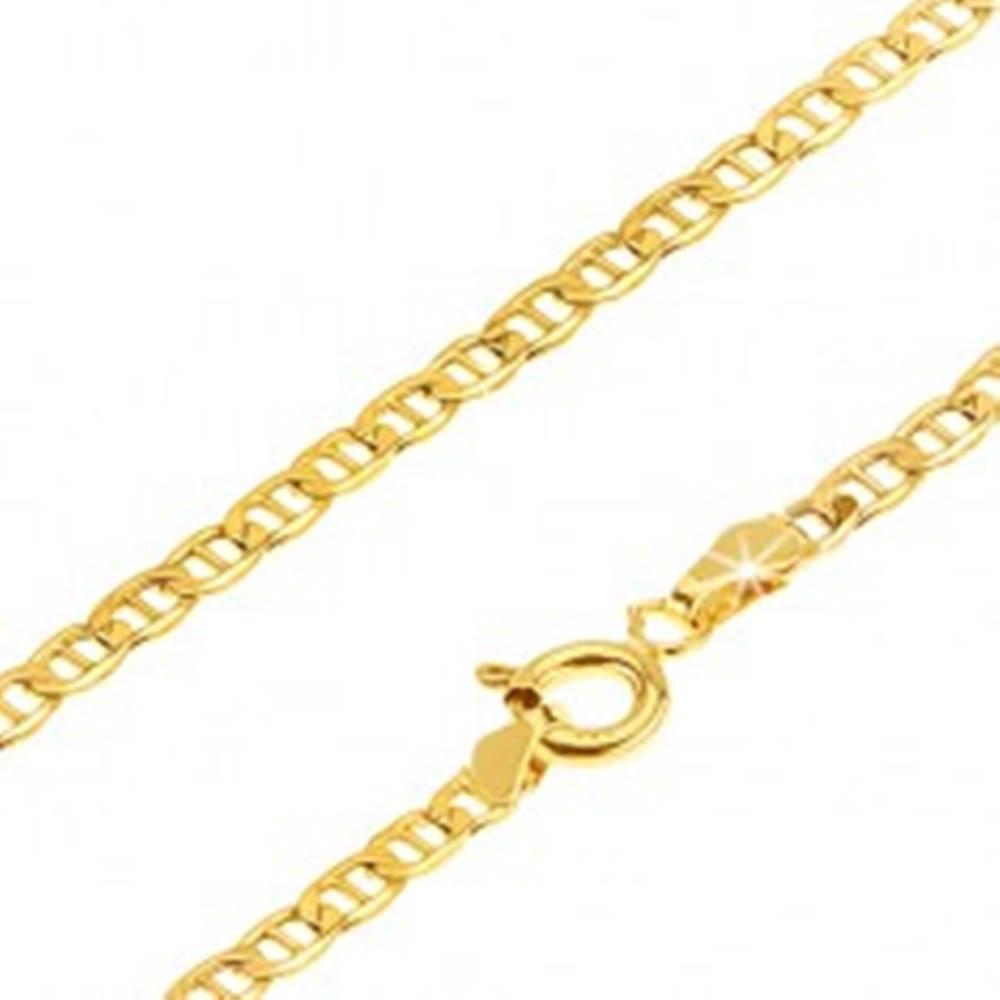 Šperky eshop Retiazka v žltom 14K zlate - malé očká predelené paličkou, 500 mm