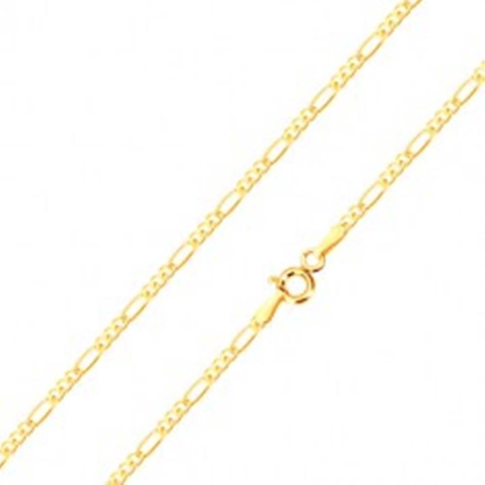 Šperky eshop Retiazka v žltom 14K zlate - tri drobné a jedno podlhovasté očko, 450 mm