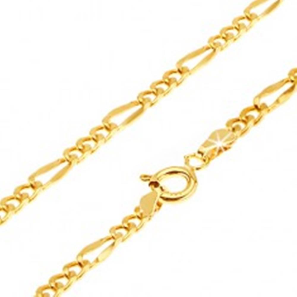 Šperky eshop Retiazka v žltom 14K zlate - tri oválne očká, jedno dlhšie sploštené, 450 mm