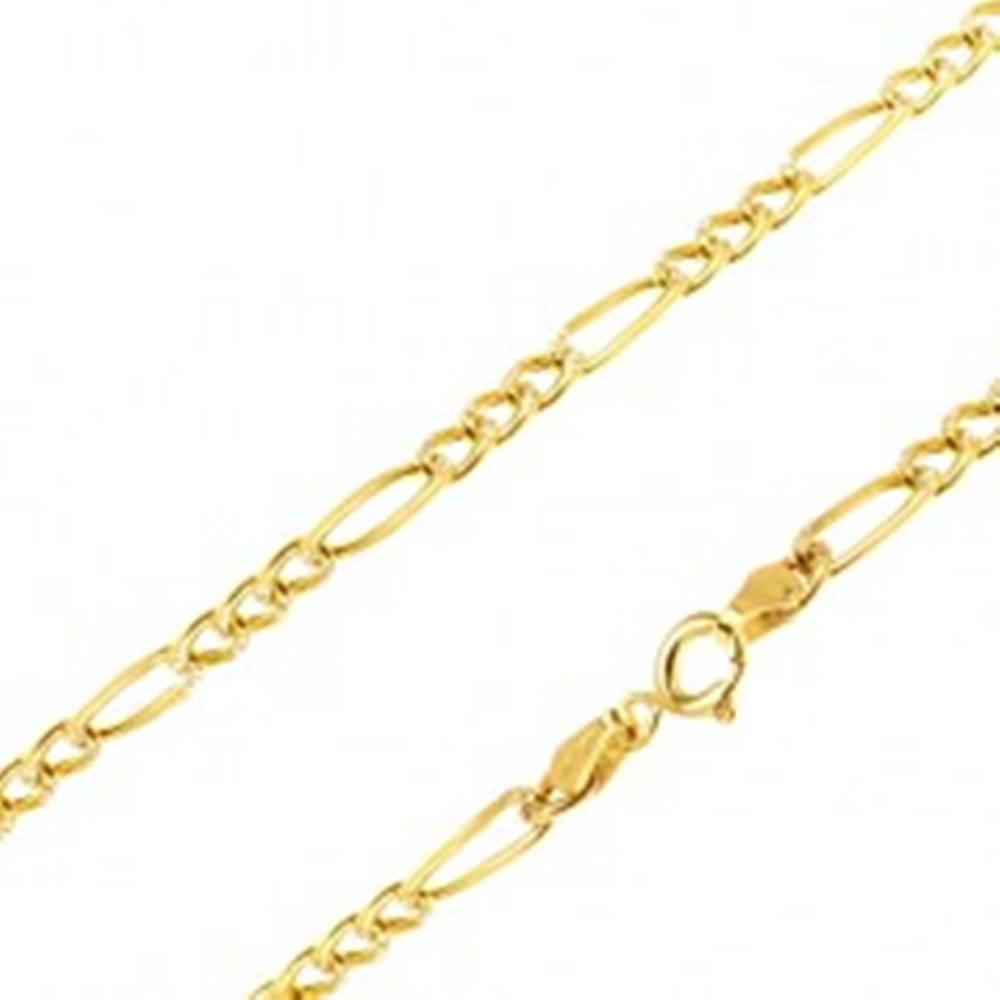Šperky eshop Retiazka v žltom 14K zlate - tri zarovnané očká a jedno dlhšie, 450 mm