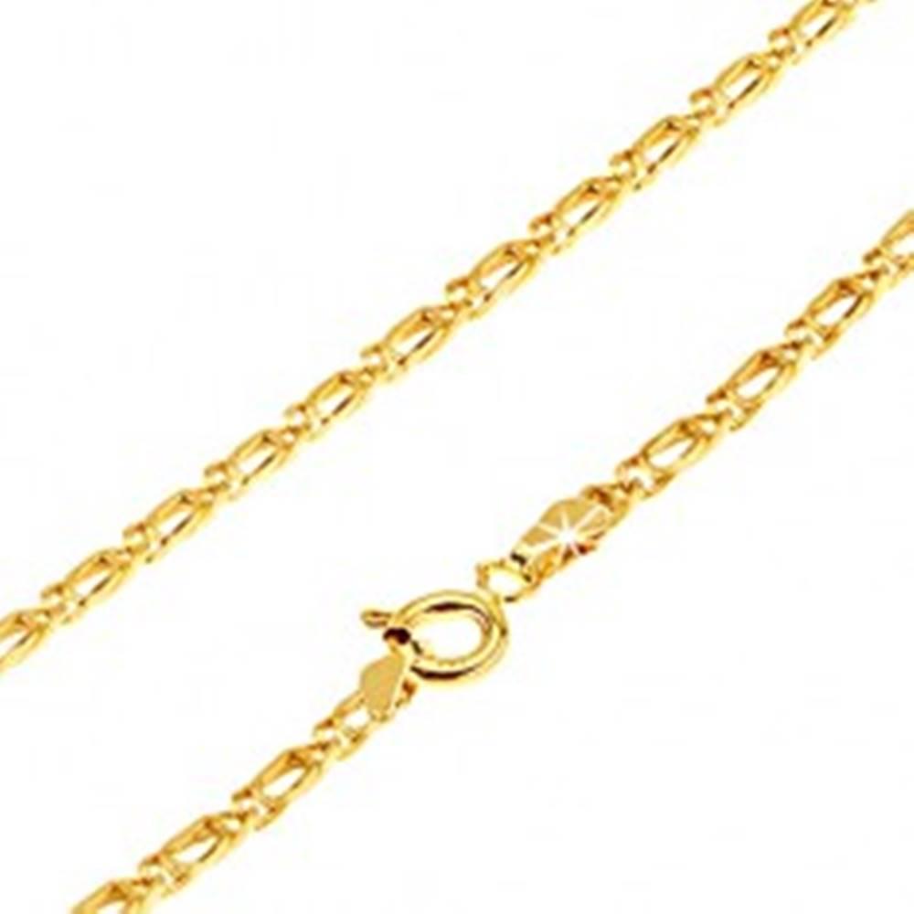 Šperky eshop Retiazka zo žltého 14K zlata - dve ohnuté prekrývajúce sa očká, 445 mm