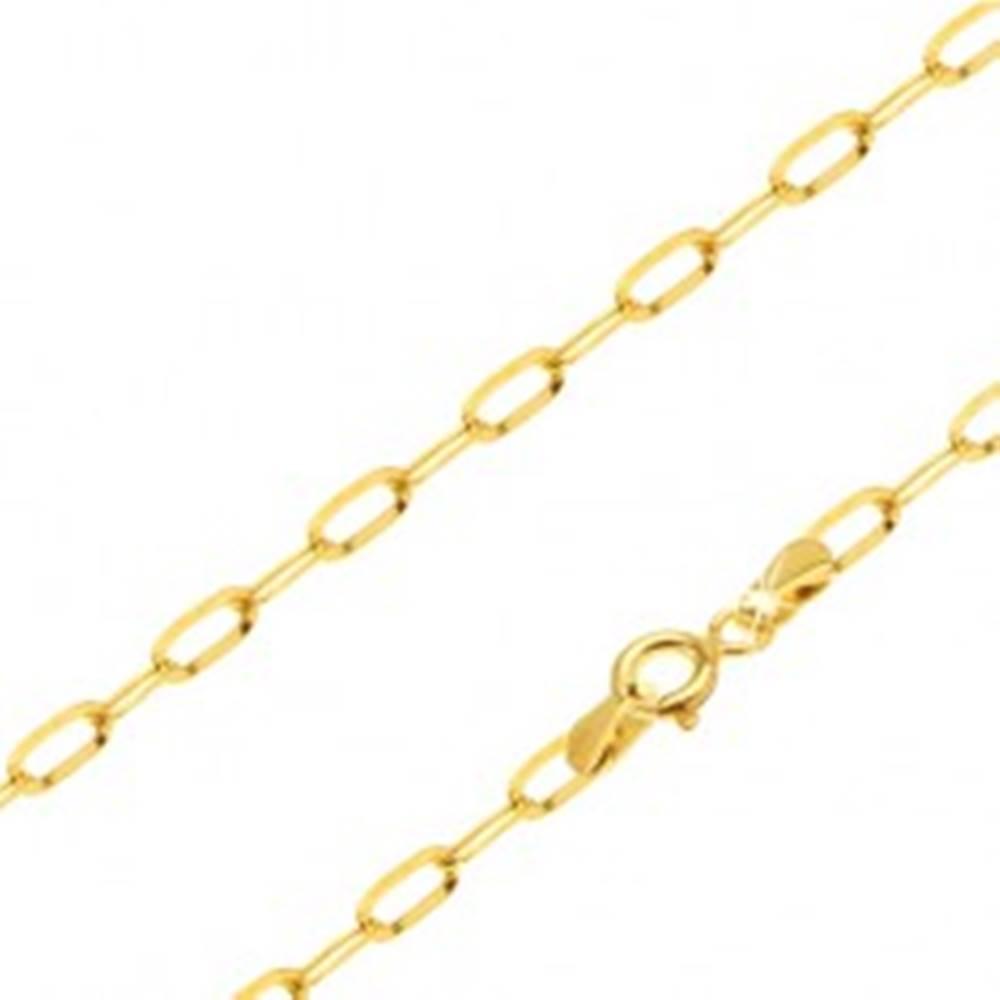 Šperky eshop Retiazka zo žltého 14K zlata - lesklé podlhovasté hladké očká, 450 mm