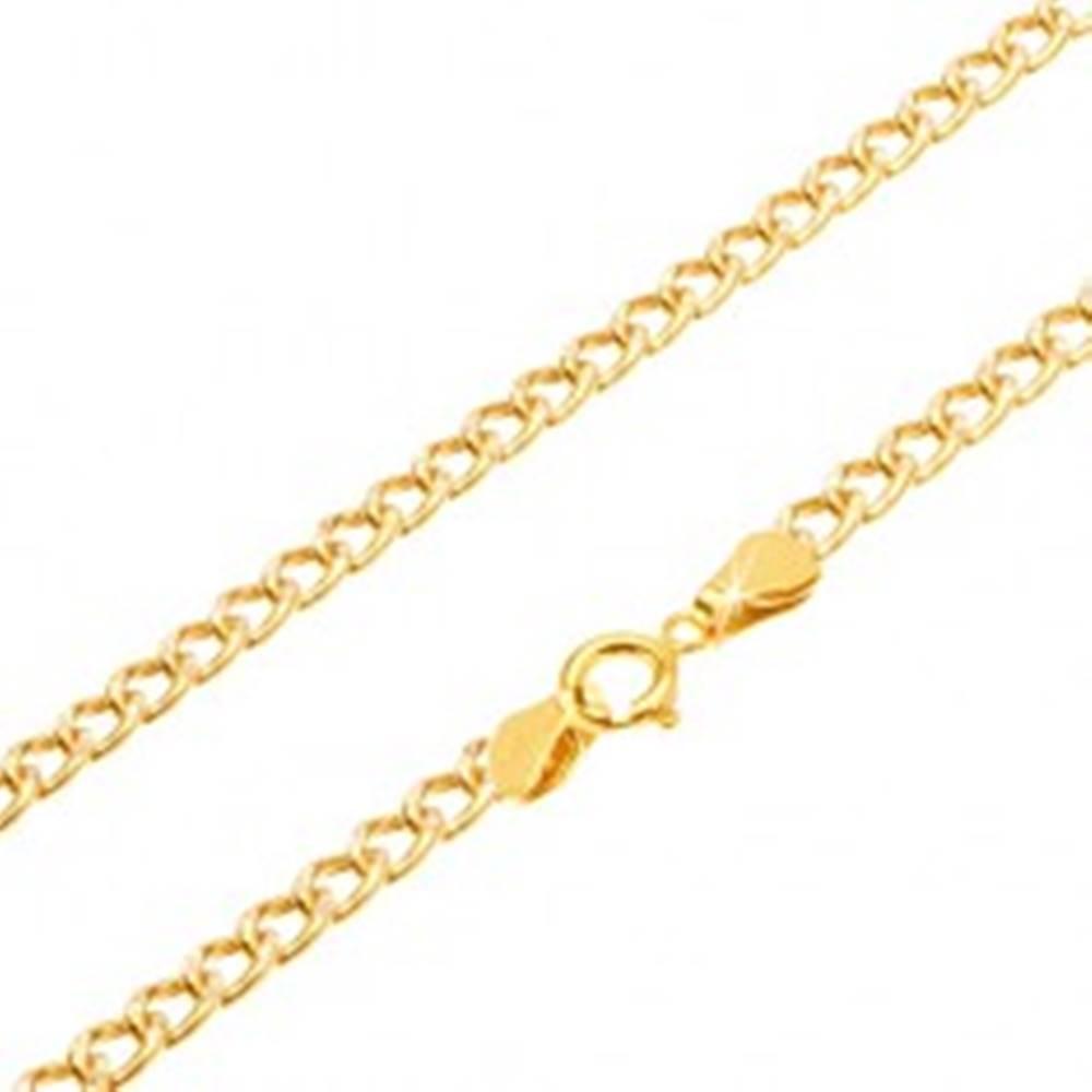 Šperky eshop Retiazka zo žltého 14K zlata - oválne hrubšie očká, ryhovanie, 550 mm