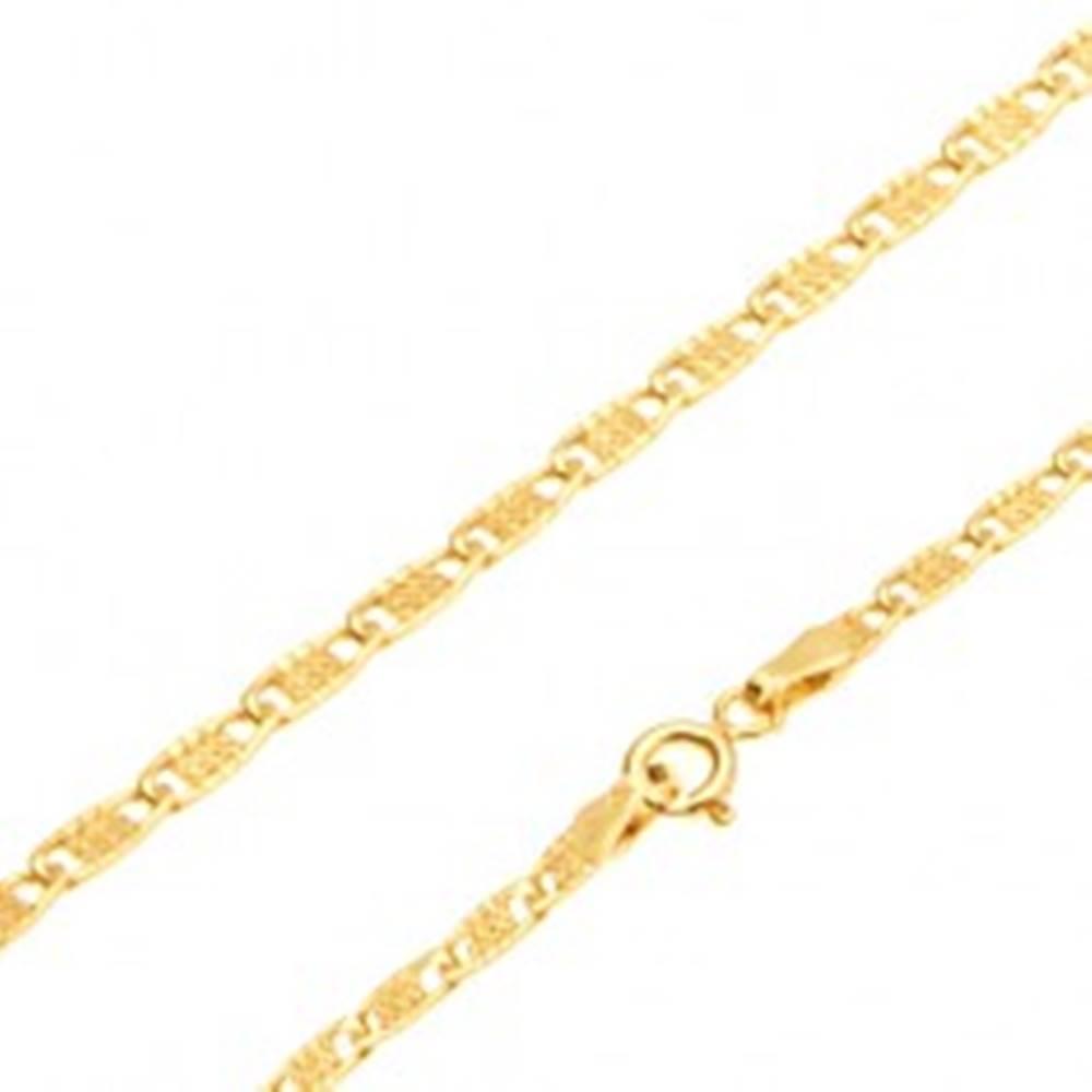 Šperky eshop Zlatá retiazka 585 - lesklé ploché oválne očká s mriežkou, 550 mm