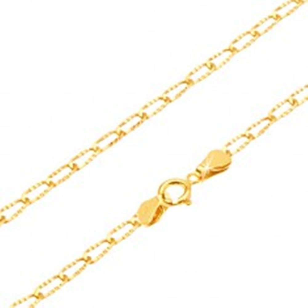 Šperky eshop Zlatá retiazka 585 - ligotavé podlhovasté očká s ryhovaním, 500 mm