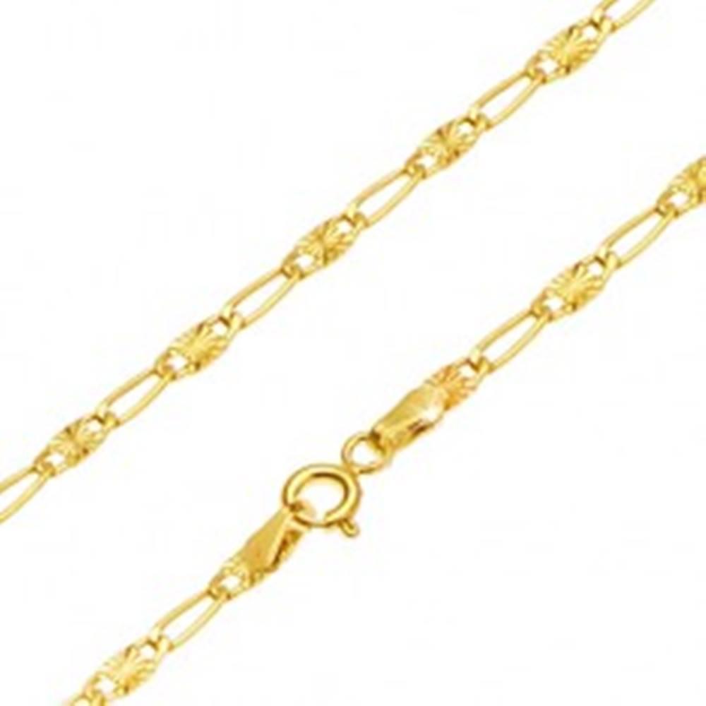 Šperky eshop Zlatá retiazka 585 - podlhovasté očko, článok s lúčovitým ryhovaním, 450 mm