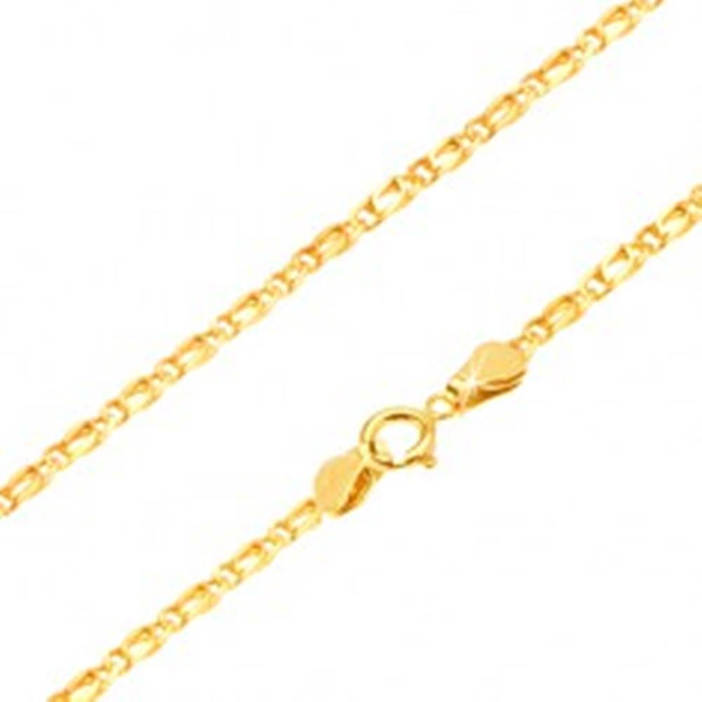 Šperky eshop Zlatá retiazka 585 - prepojené lesklé oválne očká, zarovnané, 550 mm