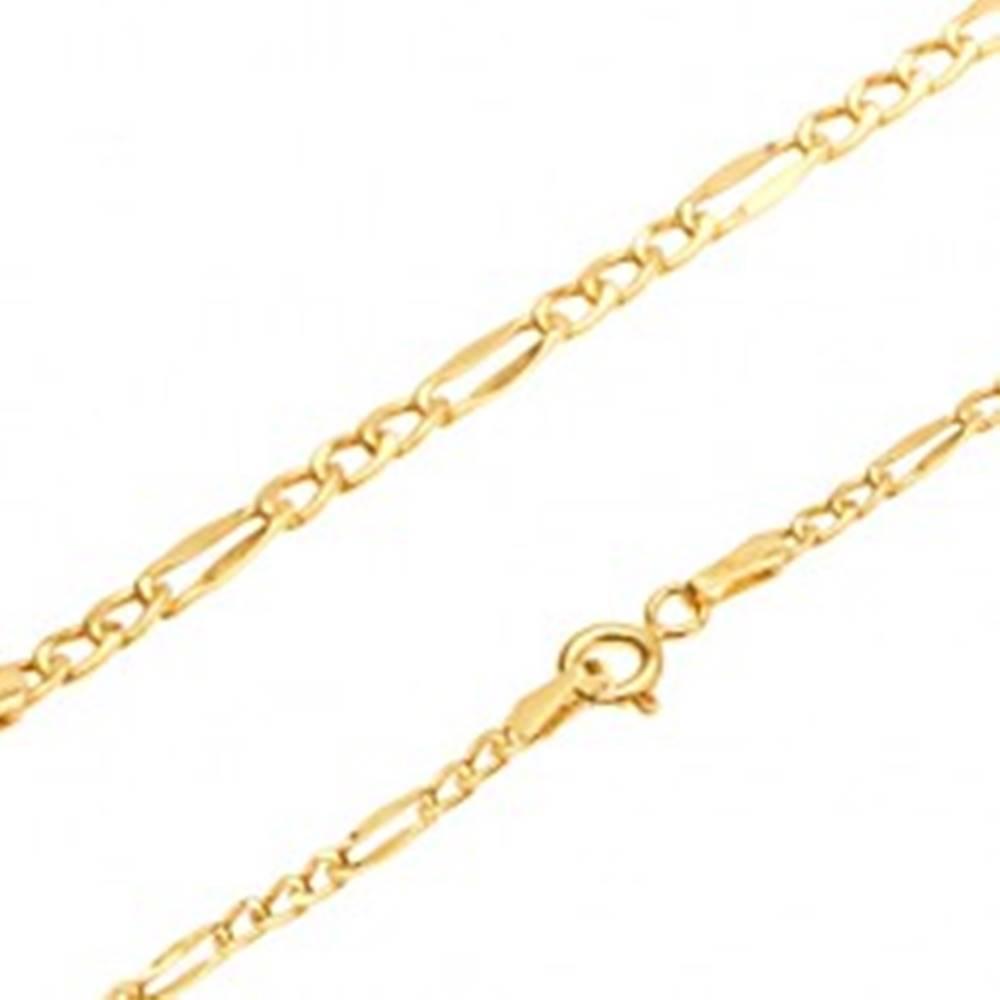 Šperky eshop Zlatá retiazka 585, tri oválne očká, sploštené podlhovasté očko, 450 mm