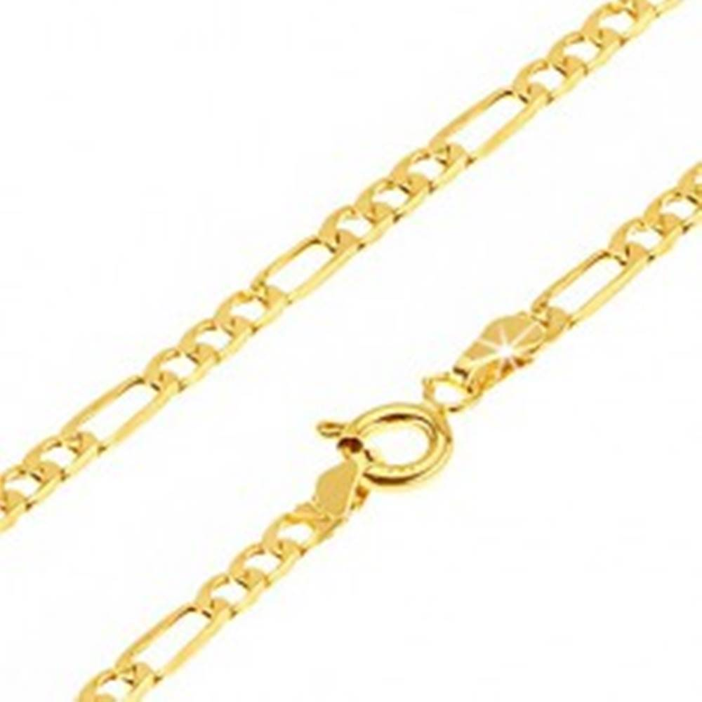Šperky eshop Zlatá retiazka 585 - tri zarovnané oválne očká a jedno podlhovasté, 500 mm