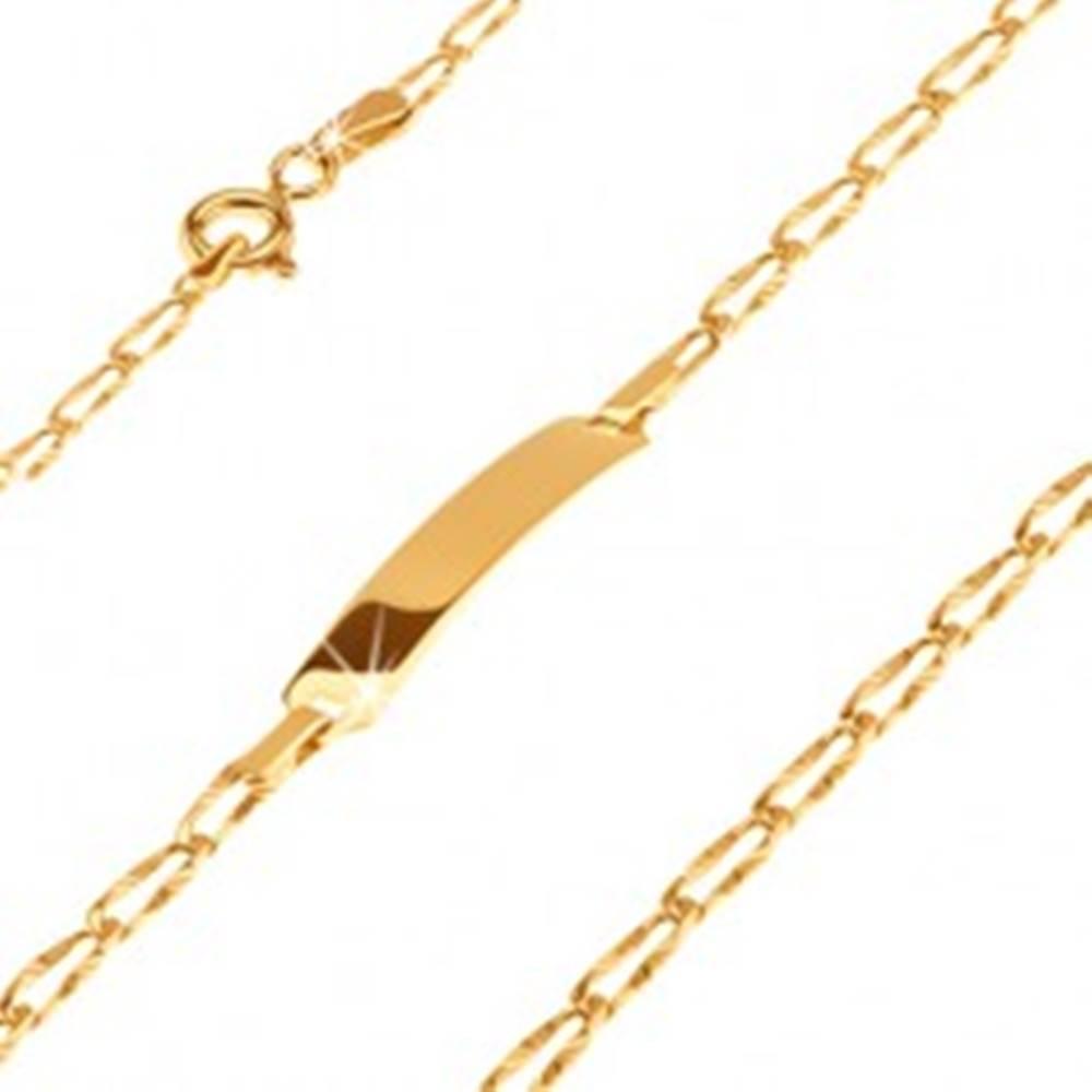 Šperky eshop Zlatý 14K náramok s platničkou - podlhovasté lúčovito ryhované očká