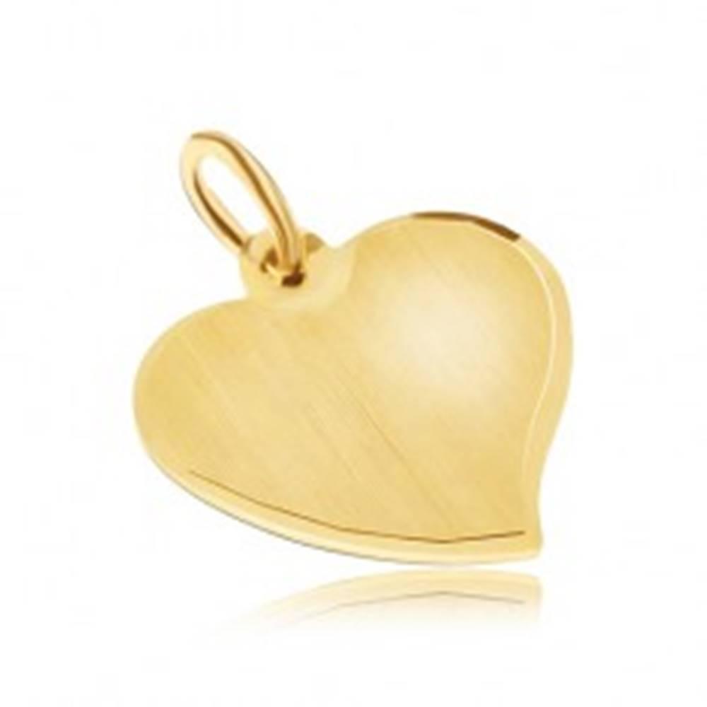 Šperky eshop Zlatý prívesok 585 - nepravidelné ploché srdce, saténový povrch, lesklý okraj