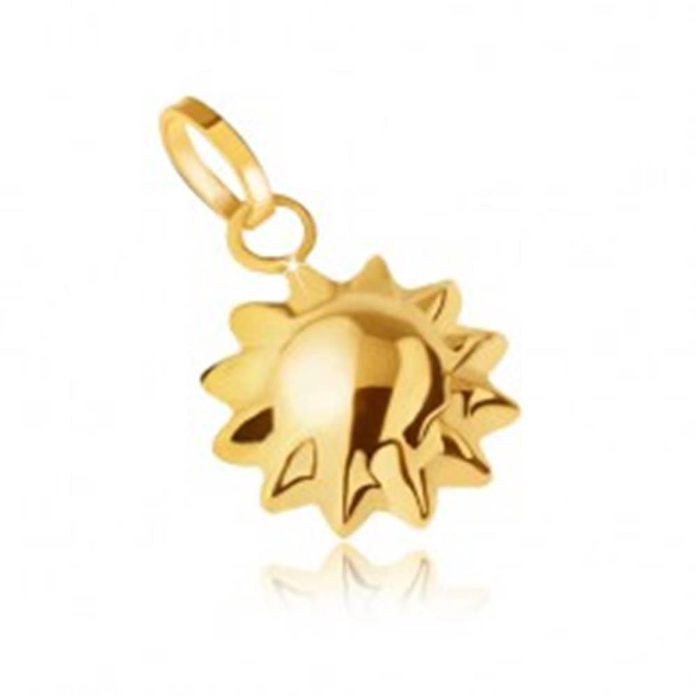 Šperky eshop Zlatý prívesok 585, trojrozmerné ligotavé slniečko, špicaté lúče